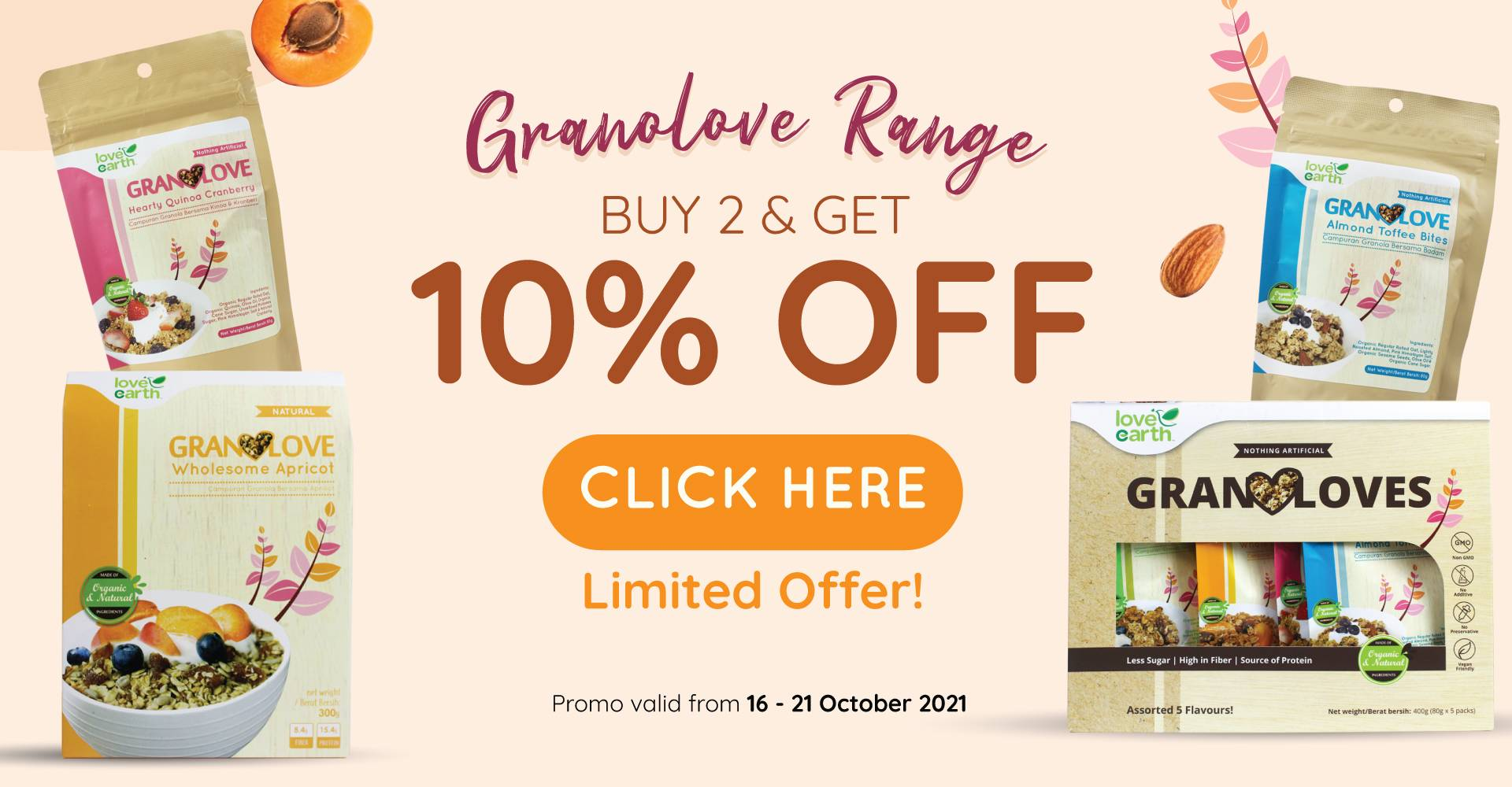 GRANOLOVE BUY 2 @10% OFF